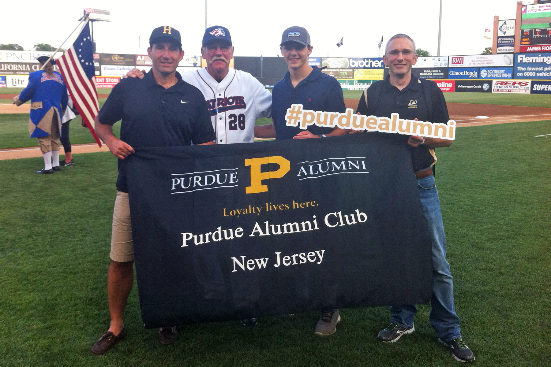 Purdue NJ threw out the first pitch at a Somerset Patriots ballgame in July 2015